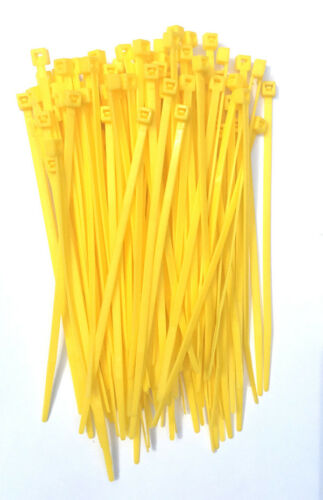 "100 4/"" Yellow Nylon Wire Cable Ties 18 Lbs"