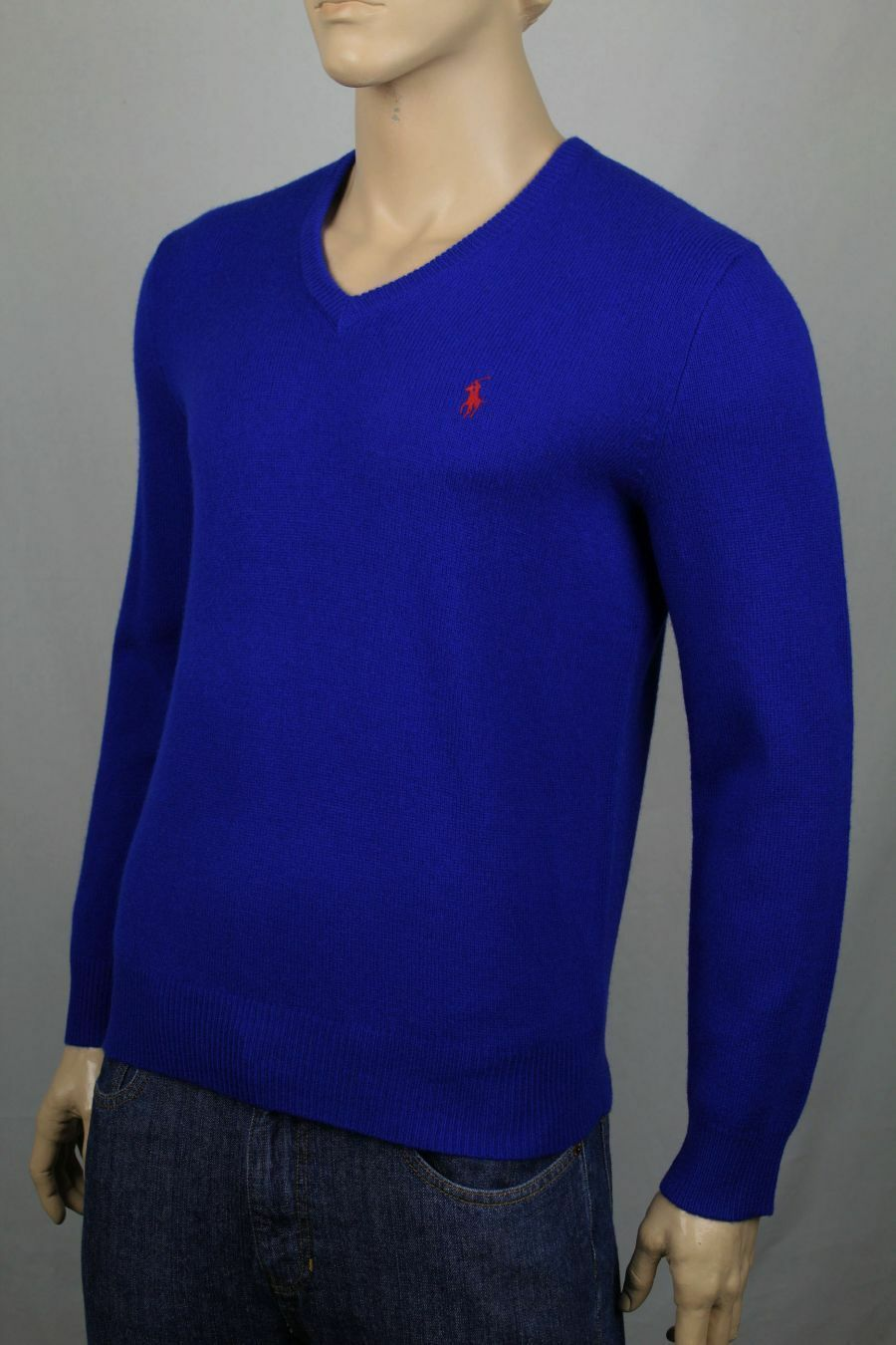 Polo Ralph Lauren Large L Royal Blau Wool Sweater ROT Pony NWT