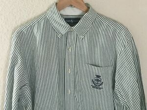 Ralph-Lauren-Mens-Classic-Fit-Oxford-Shirt-Green-White-Polo-Athletic-Club-Sz-L