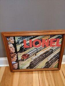 Lionel-Trains-Vintage-Framed-Art-Painting-Locomotive-HO-Railroad-Santa-Fe