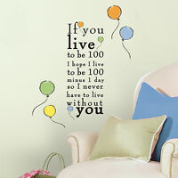 Winnie The Pooh Live To Be 100 Wall Decals Nursery Stickers Disney Decor