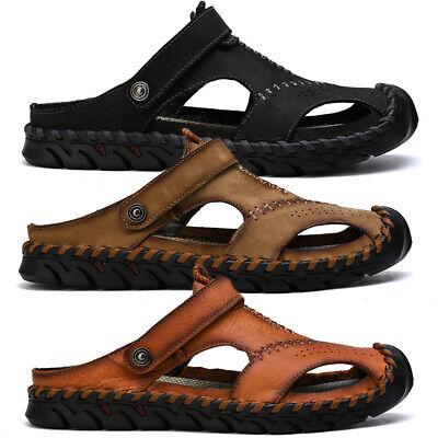 Herren Schuhe Leder Sandalen Pantoletten Outdoor Freizeit Sommer Hausschuhe Neu | eBay
