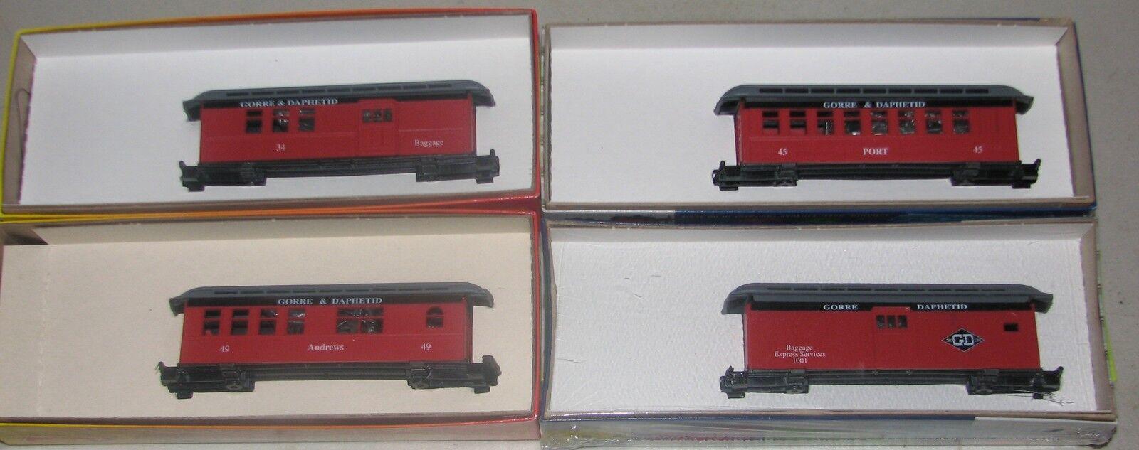 Roundhouse Conjunto de 4 automóviles-John Allen  Gorre & Daphetid Rojo Overton pasajero Kits-HO