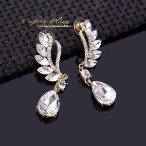 Brautschmuck-Hochzeit-Ohrringe-Ohrhaenger-XL-Gold-Weiss-Kristall-Klar-Luxury