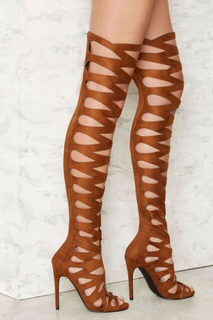 a7e37607da14 NEW NASTY GAL $150 BROWN PRIVILEGED OVER THE KNEE STILETTO BOOTS SHOES SZ 7