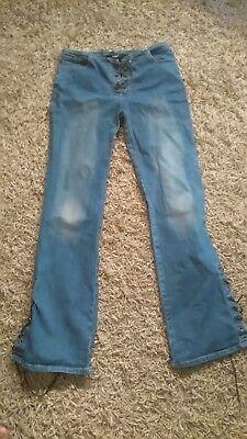 Importato Dall'Estero Vintage 90s Hipster Jeans Sbiaditi Stretch Svasato, Lacci-mostra Il Titolo Originale Moda Attraente