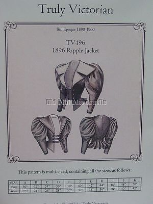 Sewing pattern 1896 Ripple Bodice Blouse Victorian leg of mutton Sleeves TV496