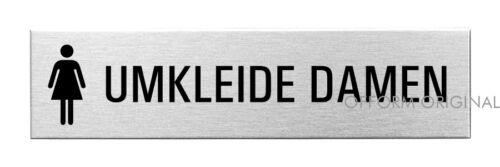 OFFORM Edelstahl Türschild I Schild I Umkleide Damen I 160x40 mm I Nr.10156