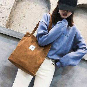 Frauen-Cord-Schulter-Einkaufstasche-Tote-Paket-Crossbody-Taschen-Casual-HanW-EOC