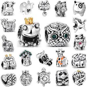 Charm-Animals-Cat-Horse-Frog-Owl-Fit-3mm-European-925-Silver-Sterling-Bracelet