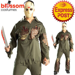 CA682-Deluxe-Zombie-Jason-Friday-The-13th-Halloween-Mens-Horror-Costume-Mask