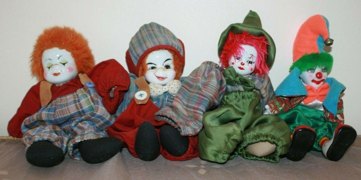 LOTTO di 4 Vintage Old Clown giocattolo Bambola Porcellana Testa