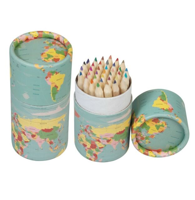 dotcomgiftshop SET OF 36 VINTAGE WORLD MAP COLOURING PENCILS