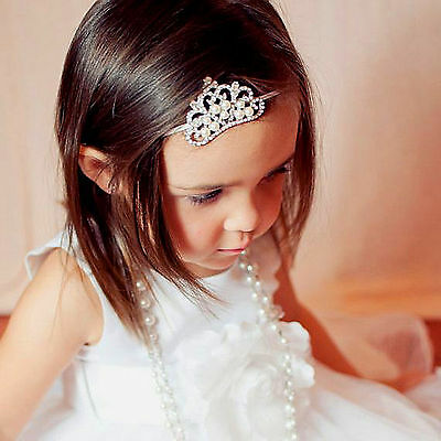 Baby Girl Shiny Princess Tiara Hair Band Headband Kids Elastic Crown Headwear FG