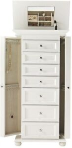 White Jewelry Armoire Bedroom Furniture Accent Piece Store Precious Valuables