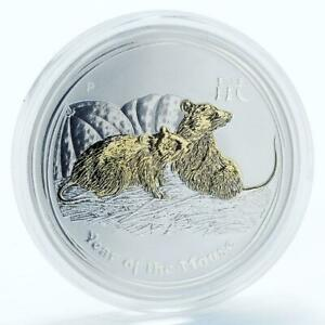Australia-1-dollar-Year-of-the-Mouse-Series-II-gilded-silver-coin-2008