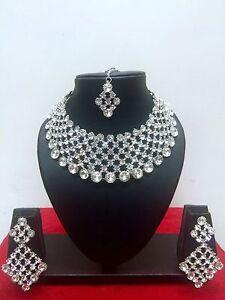 Indian-Bollywood-Style-Rhodium-Plated-Bridal-Fashion-Jewelry-Necklace-Set