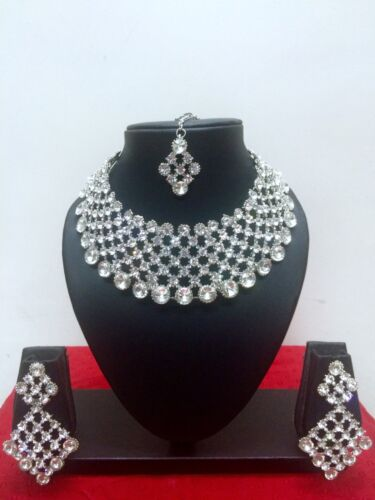 Details about  /Indian Bollywood Style Rhodium Plated Bridal Fashion Jewelry Necklace Set