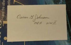 WWII Medal of Honor Sgt. OSCAR G. JOHNSON, 91st Infantry Div. Signed 3x5 MOH CMH