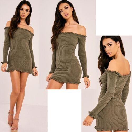 Ladies Mesh Bardot Off Shoulder Dress Sheer Long Sleeves Evening Party Bodycon