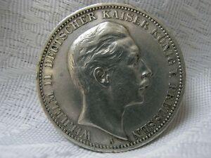 Drei Mark Deutsches Reich 1909 Preussen Aus Silber Ebay