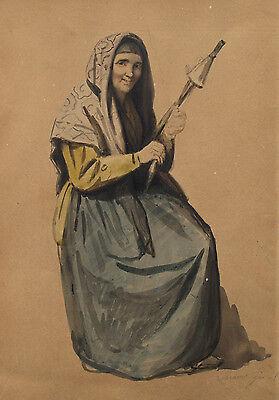 Frau mit Spinnwirtel. Aquarell sign.: Locarno? Gio 1839