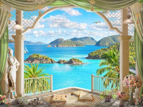 3D Balcony Scenery 878 WallPaper Murals Wall Print Decal Wall Deco AJ WALLPAPER