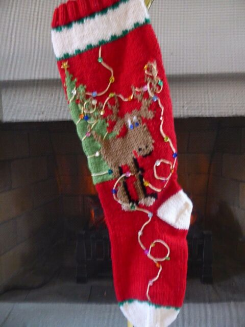 New Hand Made Knit Red Christmas Stocking With Green Tree
