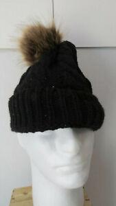 Knit-Black-Wool-Beanie-Cap-Women-039-s-Hat-Pom-Pom-Winter-Skully