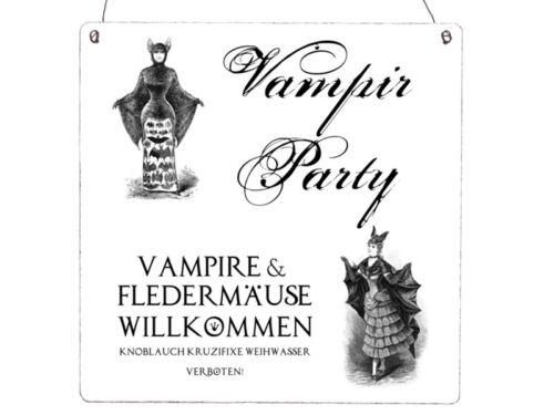 XL Shabby Vintage Schild Dekoschild Türschild VAMPIR PARTY Halloween Dekoration