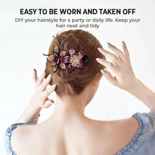 Rhinestone Double Flower Hair Clip Flexible Durable Women Hair Dovetail Clip NEW