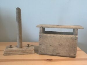 Antique Shaker Handmade Wooden Soap Form Mold Primitive Rustic & Plunger