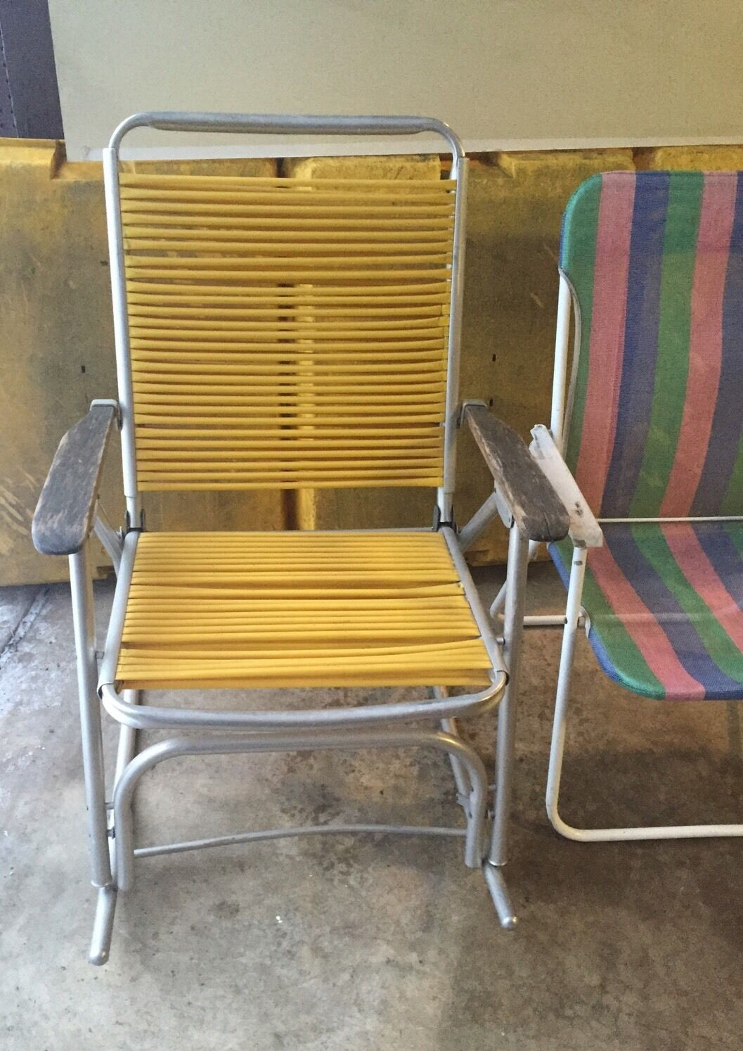 2 Lawn Chairs One is a Vintage rocking one