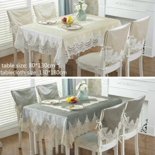 Lace Embroidery Tablecloth Velvet European Table Cover Rectangular Round