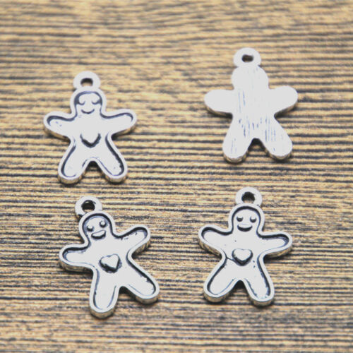 20pcs Gingerbread man charms silver tone Gingerbread man charm pendants 14x20mm