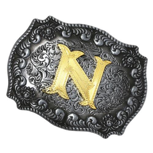 Golden Initiale Lettres A-Z Homme Cowboy Ceinture BOUCLE Indien Boucle en Métal