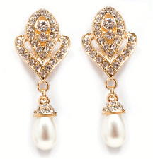 Vintage Style Gold Rhinestone Faux Pearl Dangle Clip-On Earrings