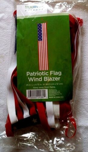 "Wind Blazer US Flag Pattern Indoor Outdoor Patriotic Decor 25/"" L x 4.75/"" W NIP"