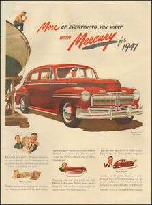 CHRISTMAS WREATH /& FAMILY 1947 MERCURY RED CAR Vintage Look REPLICA METAL SIGN