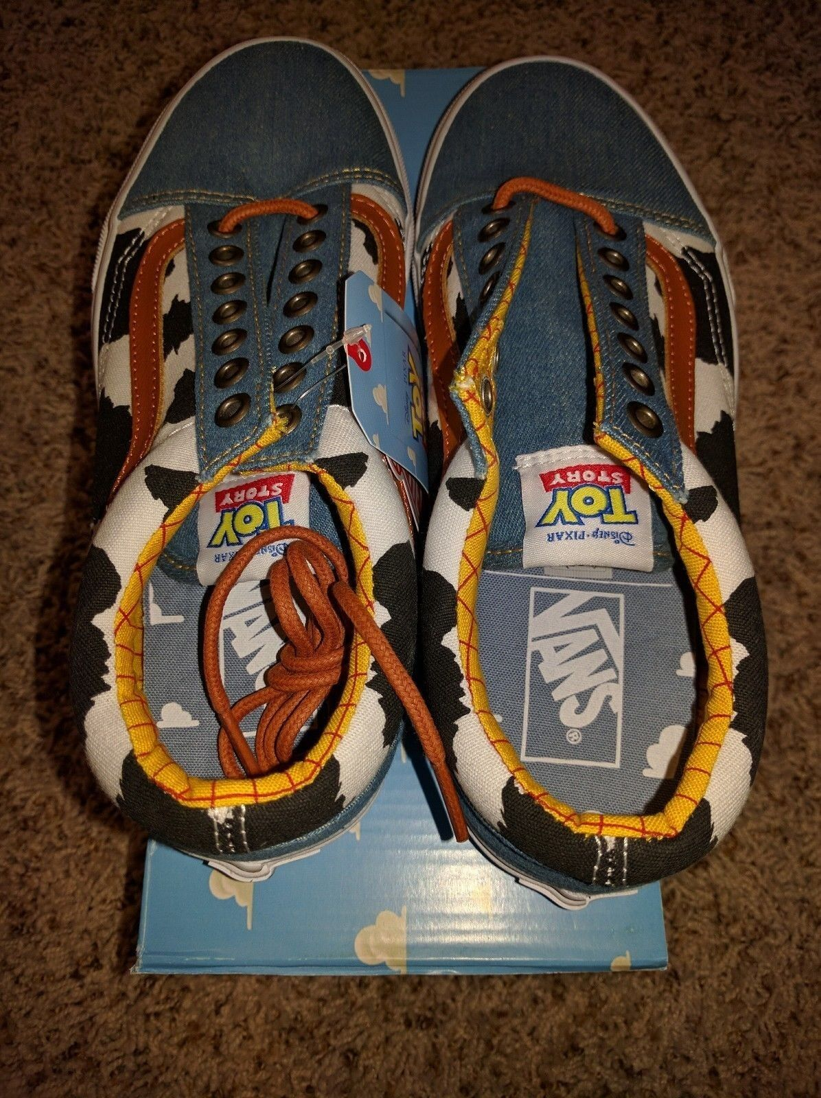 Vans Old Skool x x x Toy Story Woody Cowboy Denim Disney Cow Print Low Land All NEW 97fe8e
