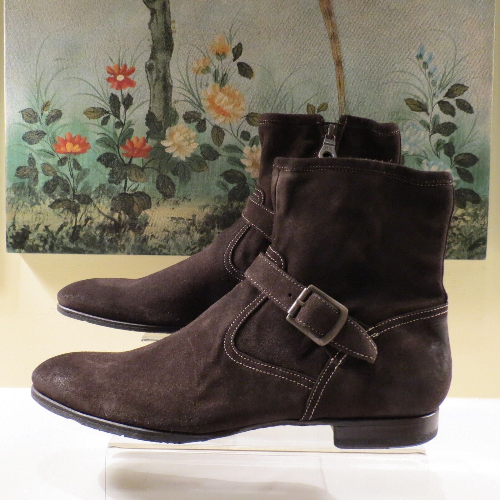 NWB WOMEN AUTH PAUL SMITH CARSON SIGARO DIP DYE BROWN SUEDE ANKLE ZIP BOOT 41 11