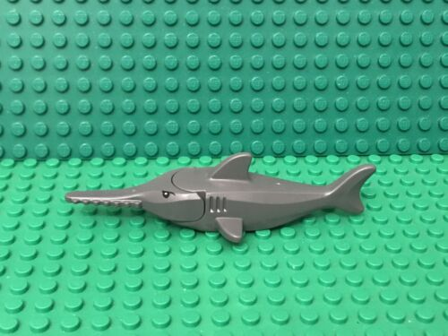 Lego Dark Bluish Gray Sawfish Sea Animal With Gills,Black Eyes,White Pupils