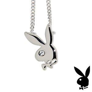 Playboy-Necklace-Small-Classic-Bunny-Logo-Pendant-Charm-Platinum-Plated-RARE-HTF