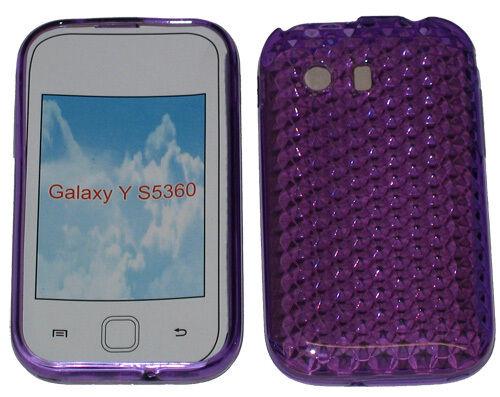 Patrón de gel caso Protector cubierta para Samsung Galaxy Joven y S5360 púrpura nuevo Reino Unido