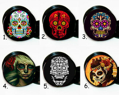 Select 1 pair Day of the Dead  ear gauges tunnel screw backs plugs