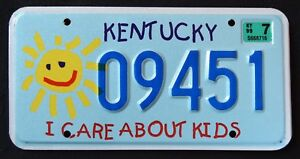 KENTUCKY-034-I-CARE-ABOUT-KIDS-CHILDREN-SUN-034-KY-Specialty-License-Plate