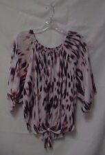 New Jennifer Lopez Sparkle Tie Front Top Blouse M Medium White Pink Black Shirt