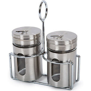 Salt And Pepper Shakers Stainless Steel Set Of 2 Gold Spice Box Dispenser Jar