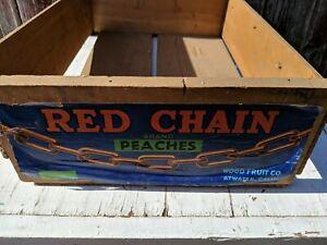 Rare-Vintage-Wood-Red-Chain-Brand-California-Peaches-Crate-Box