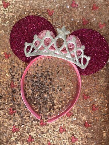 Disney Theme Minnie Mouse Ears Hen Pink Headband Silver Tiara Fits Kids /& Adults
